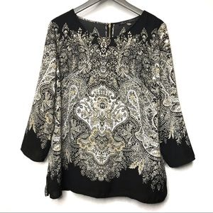 Rose & Olive Black Paisley Print Top